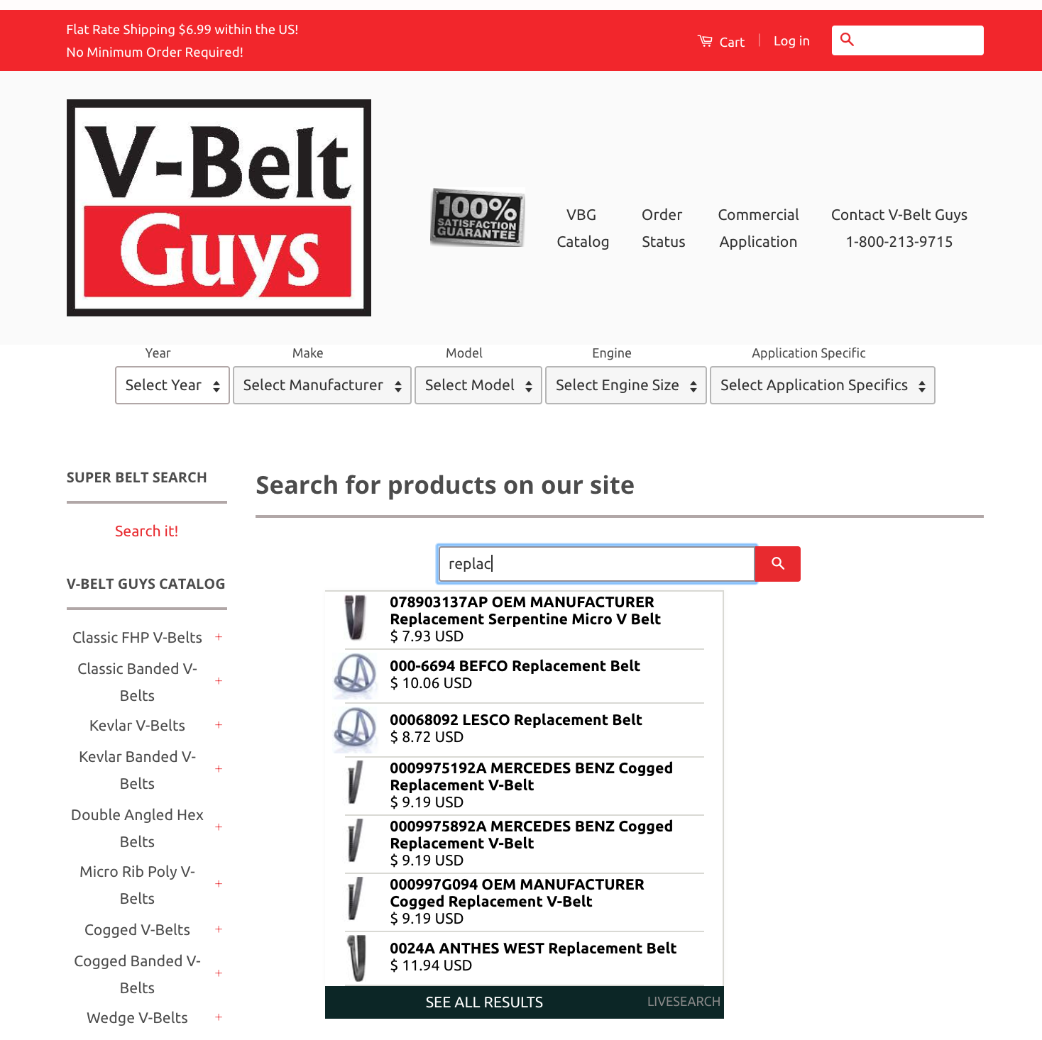 V-Bely Guys onsite search is geared specifically to B2B ecommerce