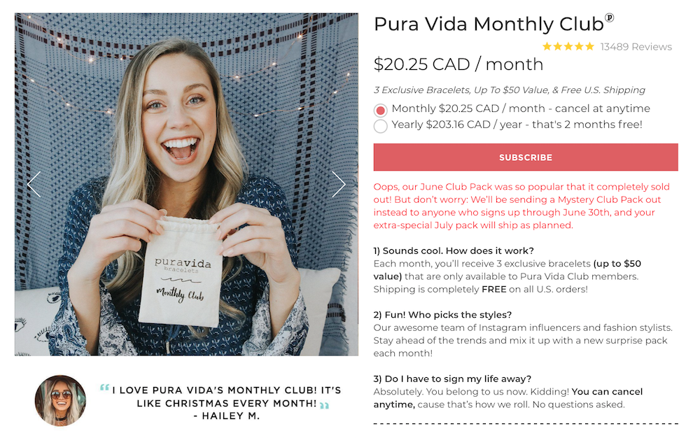 Pura Vida's ecommerce tool for subscriptions