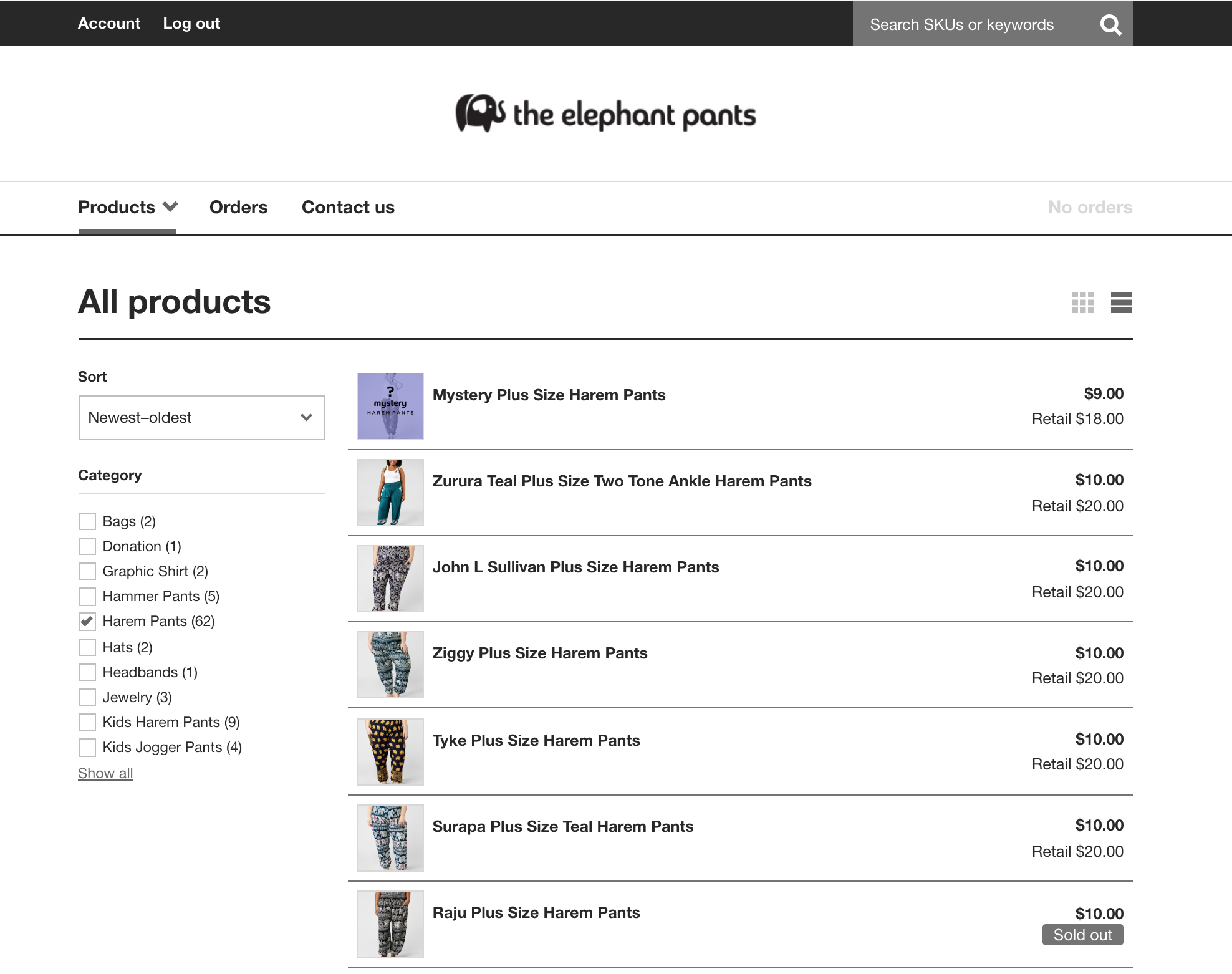 The Elephants Pants' wholesale ecommerce website