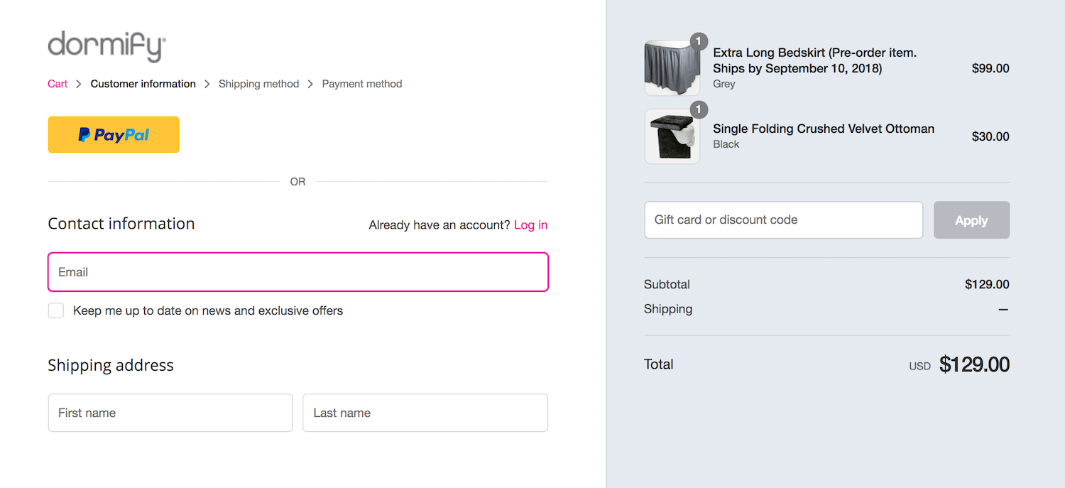 Dormify increases trust by showing the steps required to checkout