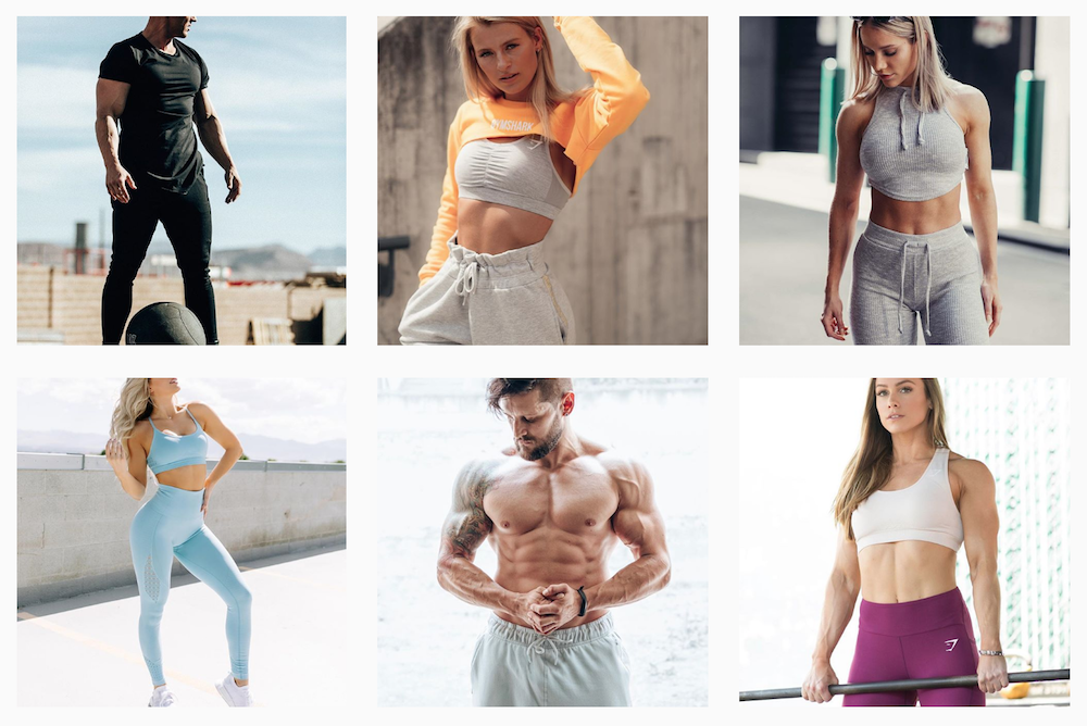 Sampling of Gymshark's recent Instagram posts