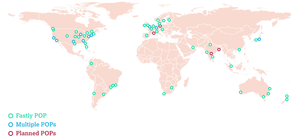 A map of the world showing Fastly POPs, multiple POPs, and planned POPs.