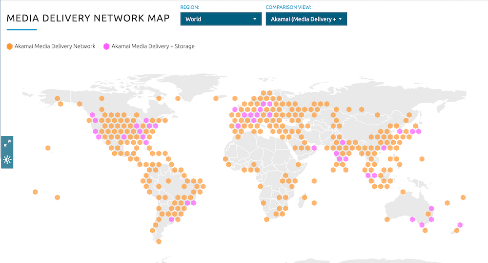 A media delivery map showing Akamai Media Delivery Network coverage