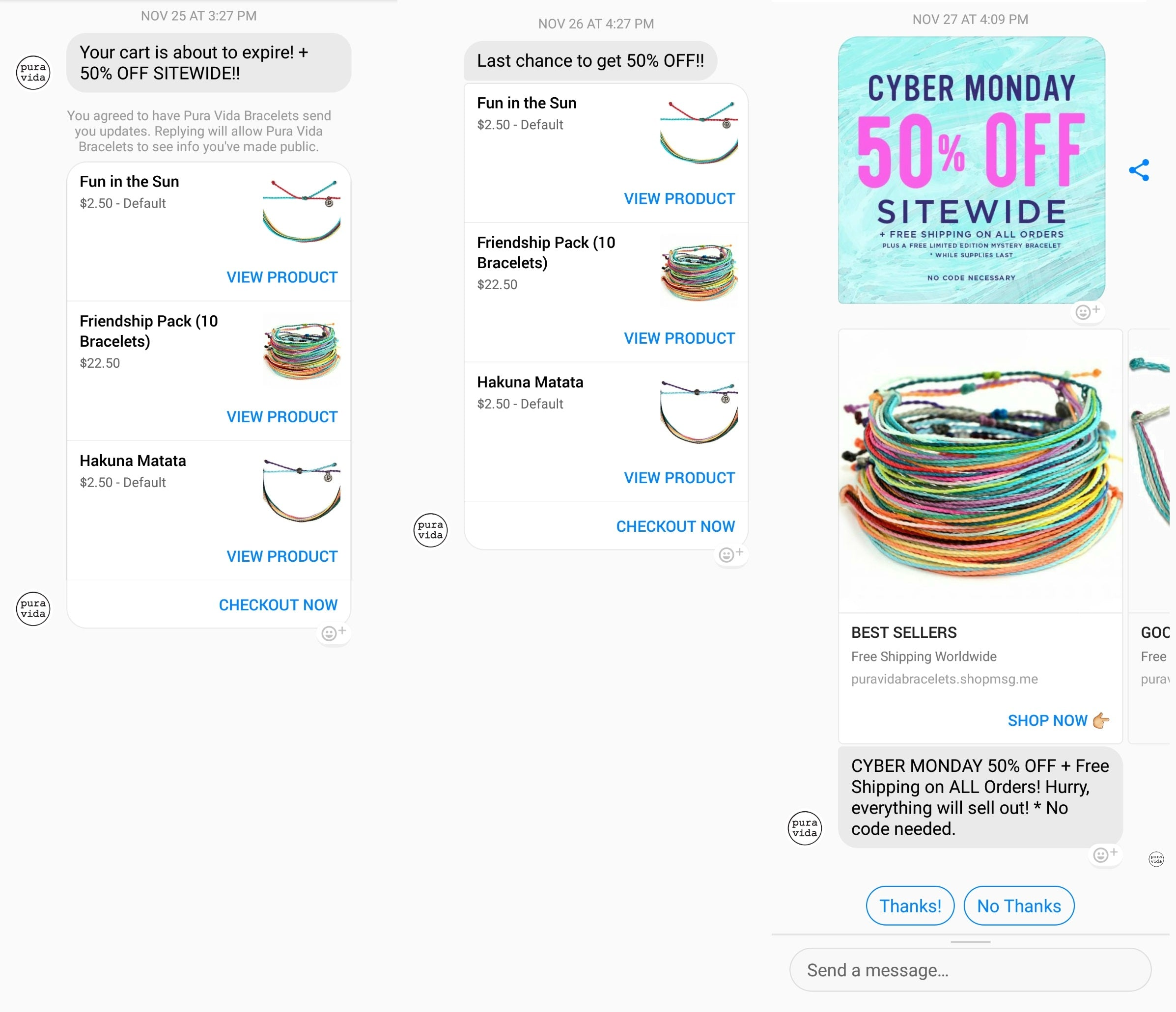 Pura Vida Bracelets' chatbot for mobile ecommerce