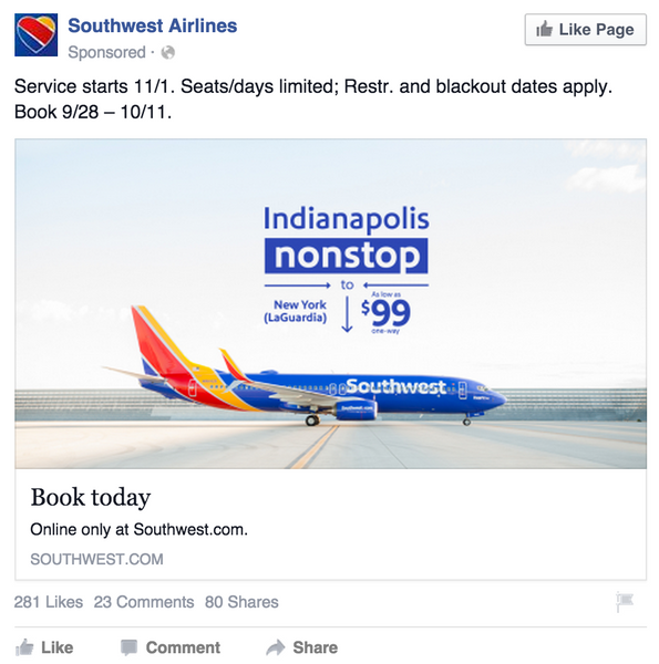 Southwest Airlines Facebook Ad