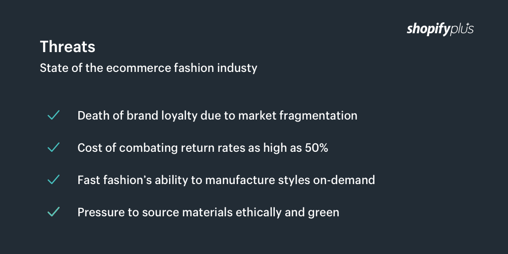 Threats facing the ecommerce fashion industry