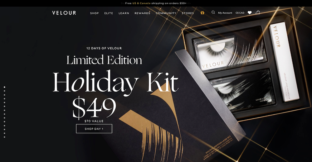 Velour Lashes holiday onsite marketing