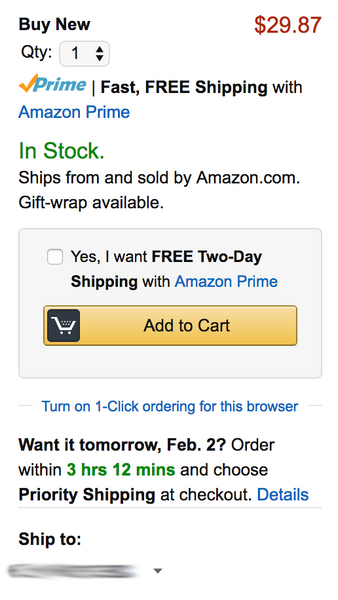 Amazon puts all of the necessary elements to consider right near the primary call to action on the page.