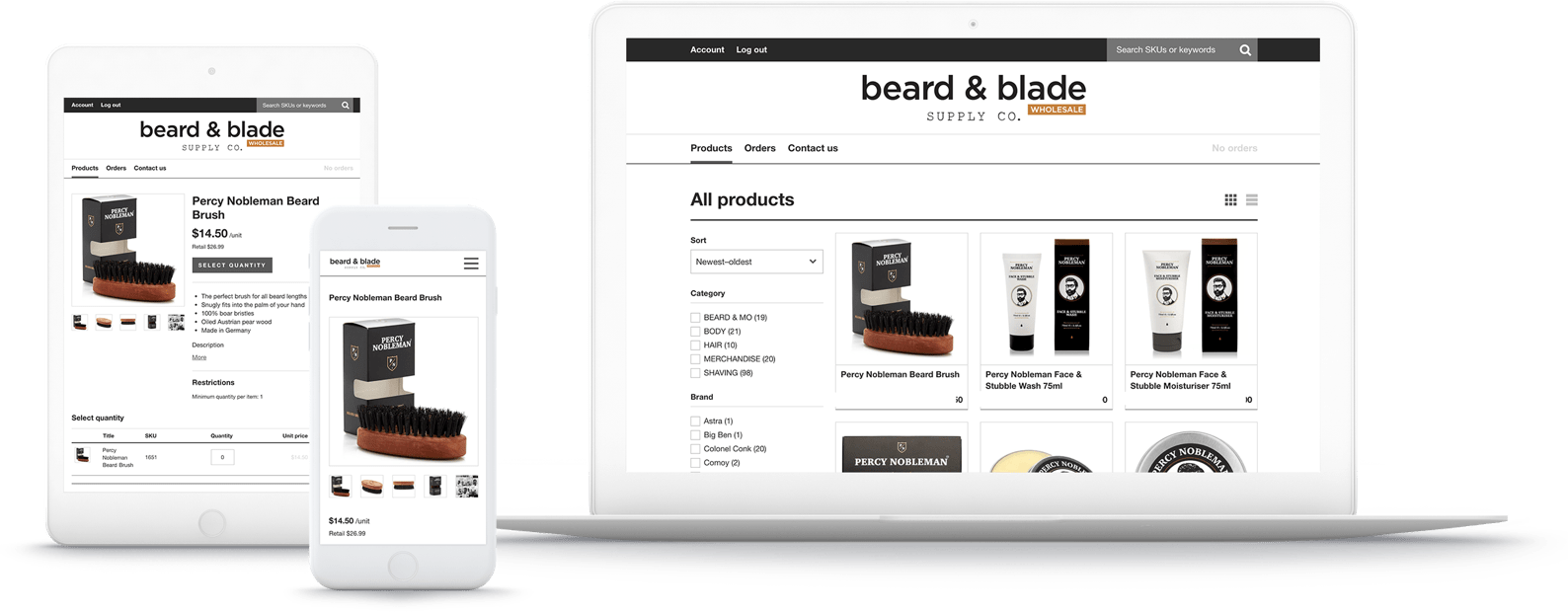 Beard & Blades B2B online store is mobile optimized