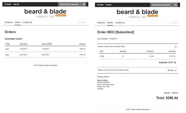 Beard & Blades wholesale order screens