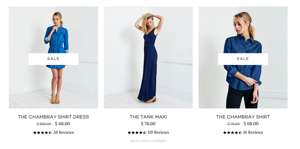 Brass Clothing gives just enough information in these high consideration areas to drive visitors deeper into the product page.