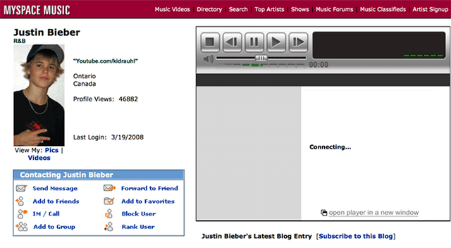 Justin Bieber early Myspace page