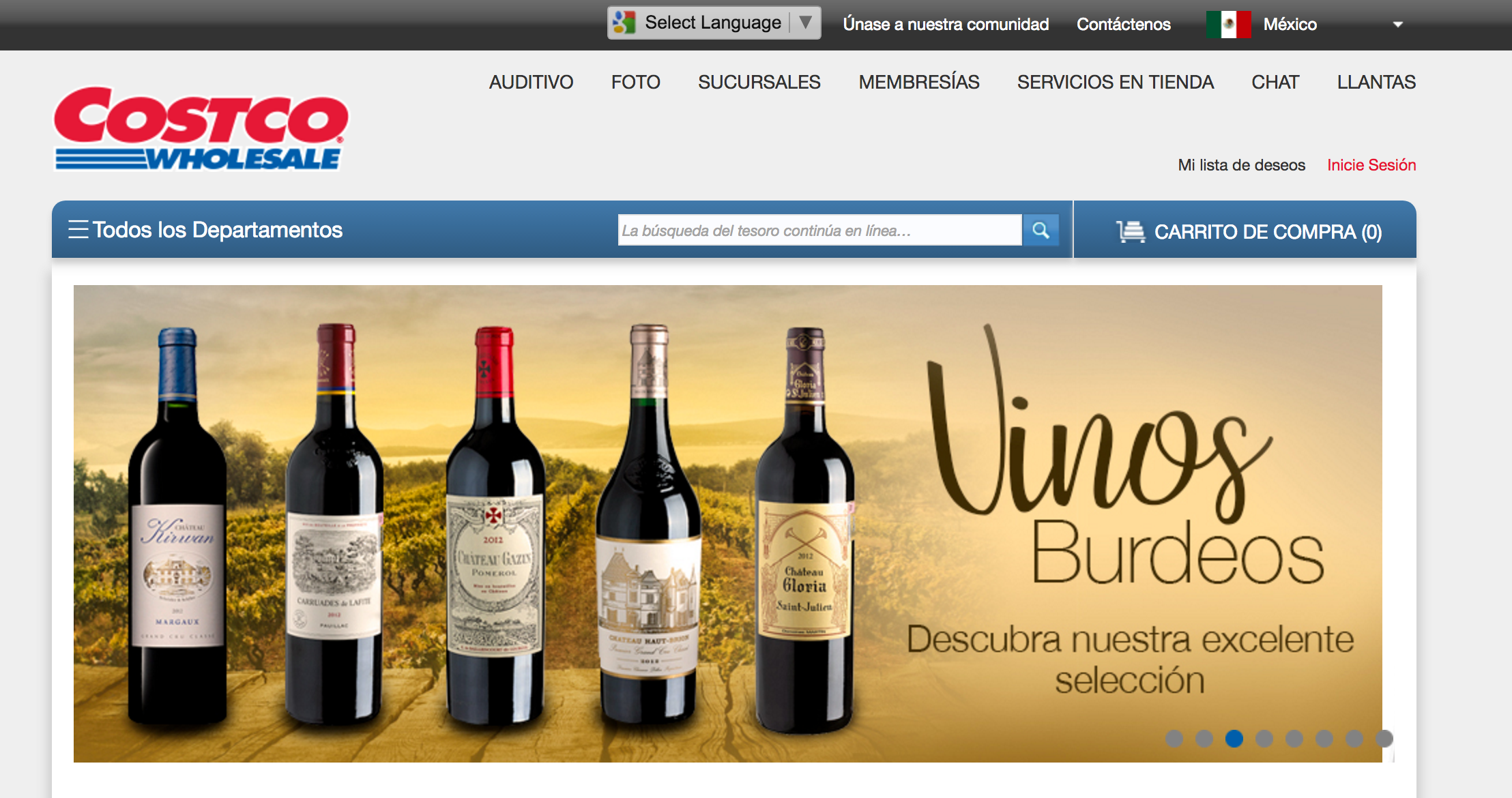 Costco's Mexico international website.