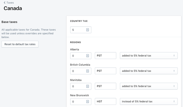 customize Canadian tax rates