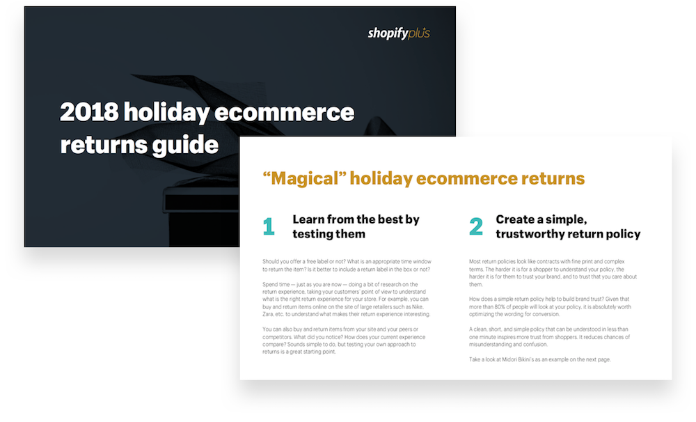 Sample pages from the 2018 holiday ecommerce returns guide