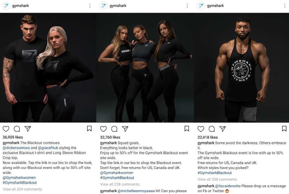 "Gymshark's ""Blackout"" campaign on Instagram"