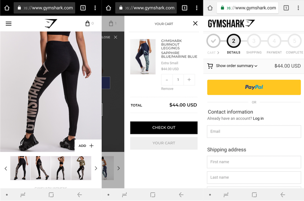 Gymshark mobile checkout