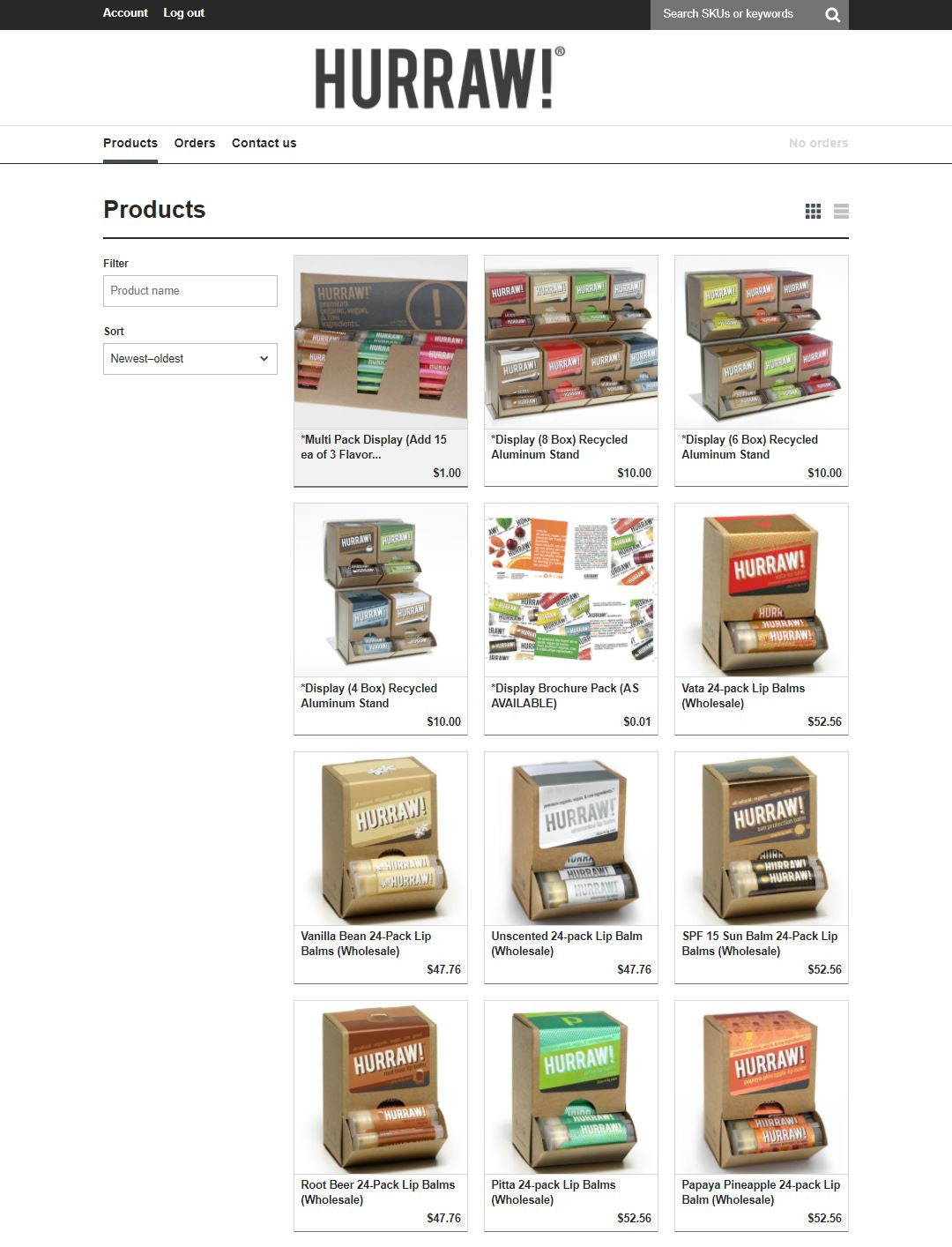 Hurraw Balm's wholesale ecommerce website
