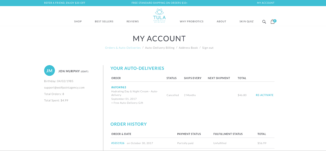 TULA then uses an auto-renewal program for ecommerce subscribers