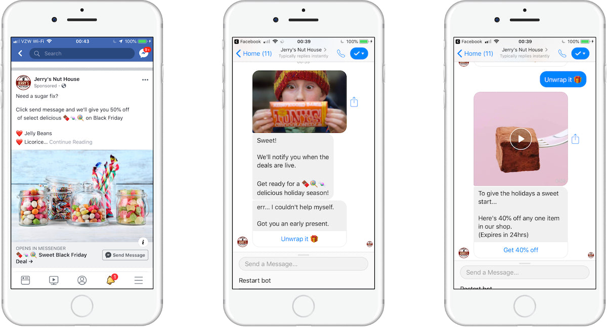 Facebook ads to ecommerce chatbot example