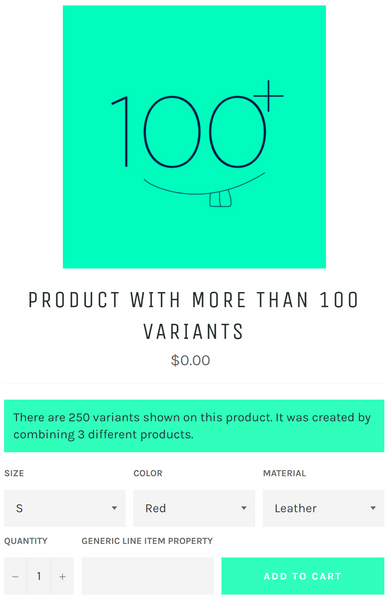 customize Shopify products to exceed 100 variant limit