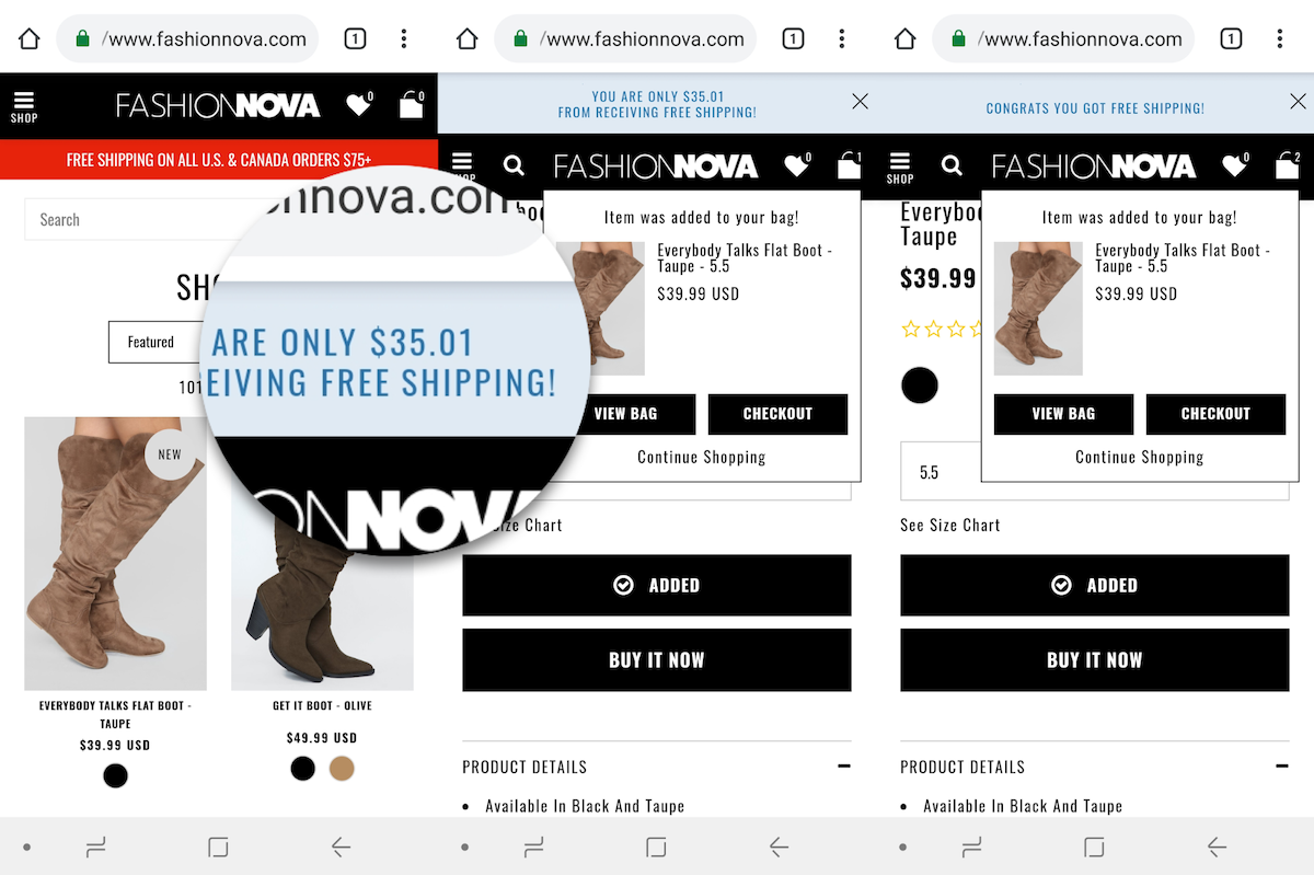 Fashion Nova's free shipping offer on mobile