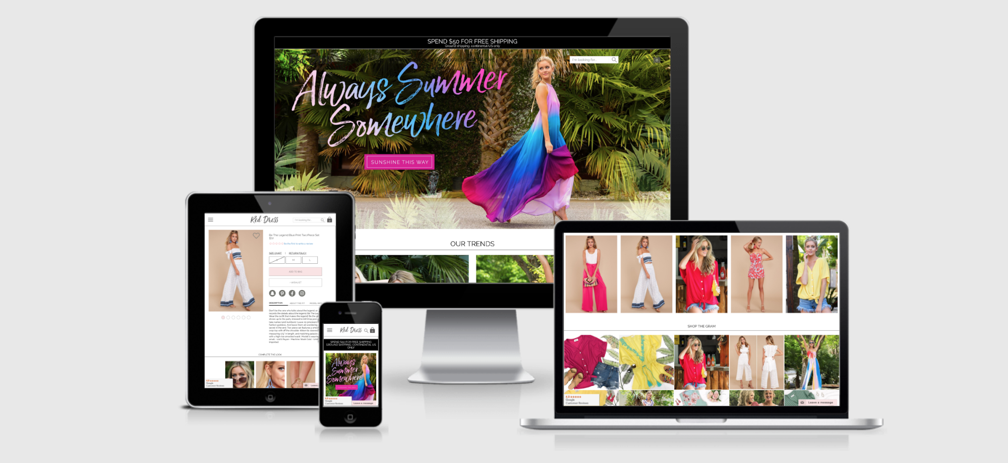 Red Dress Boutique's new site after replatforming from Magento