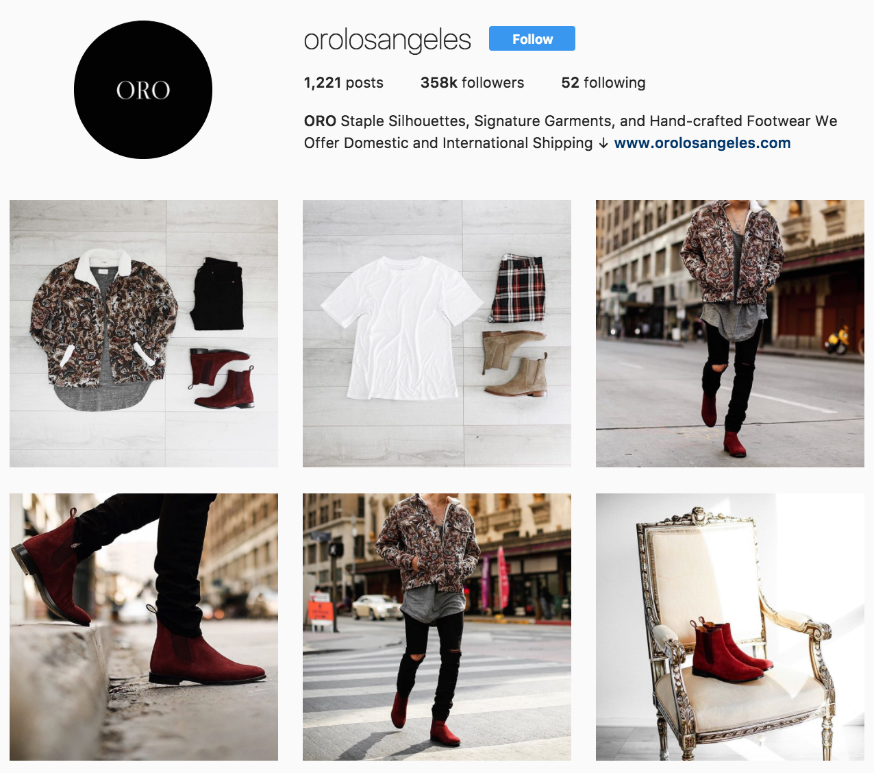 ORO Los Angeles' Instagram profile