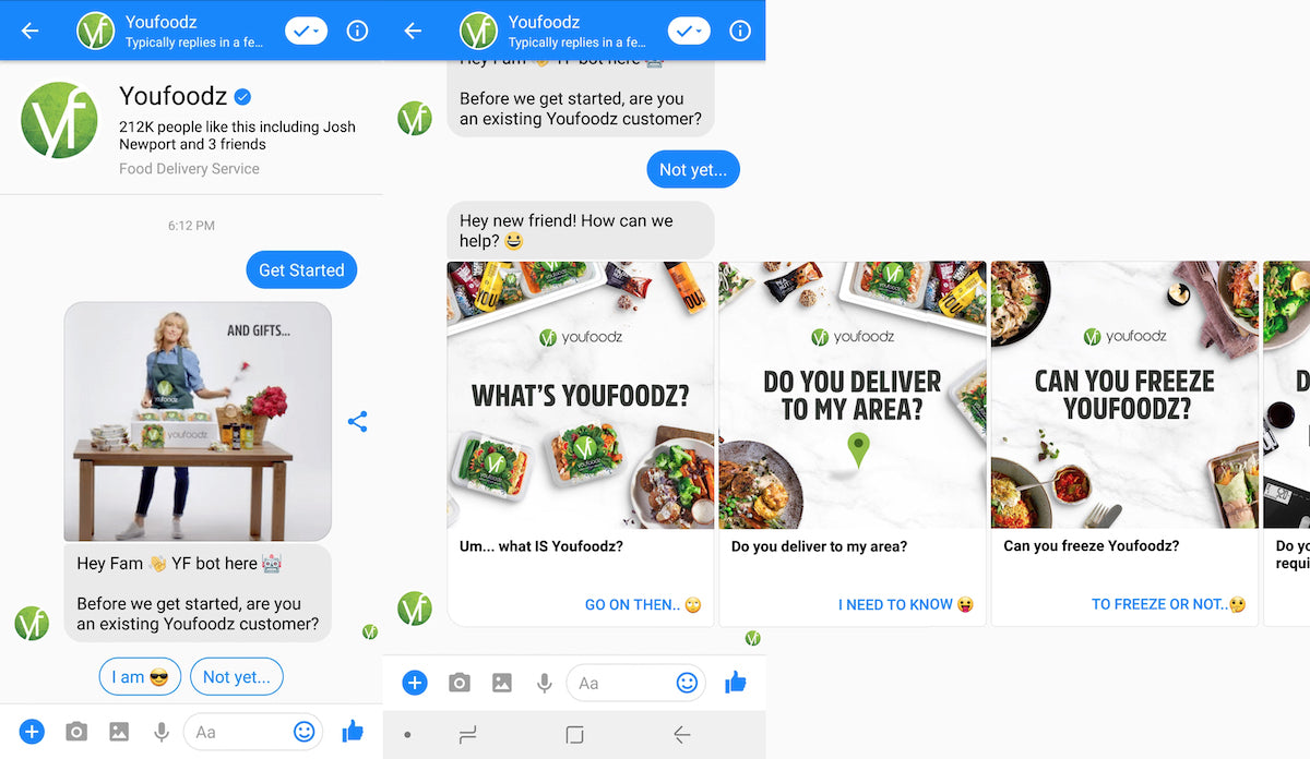 Youfoodz question and answer ecommerce chatbot