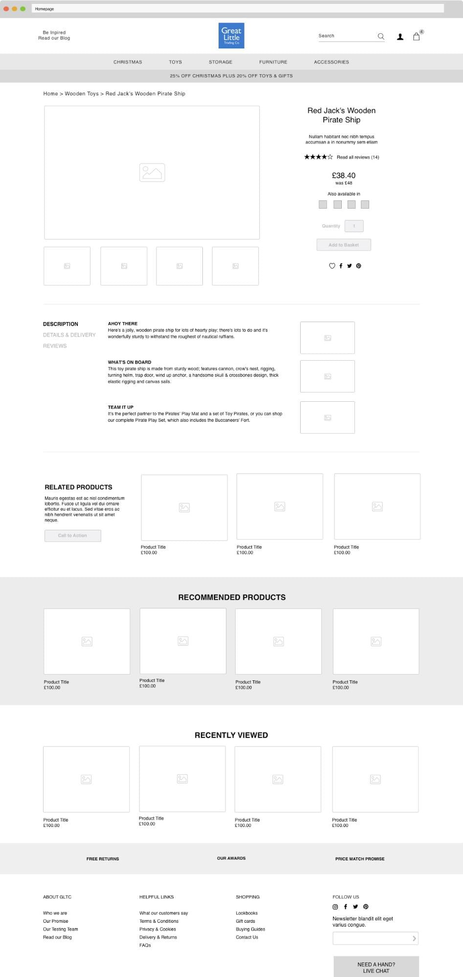 GLTC's wireframe for migrating ecommerce platforms