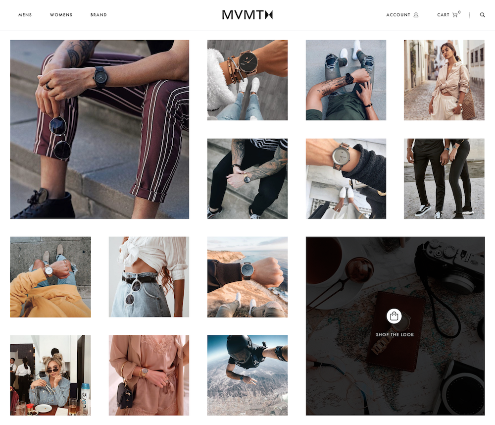 MVMT's onsite shoppable Instagram feed