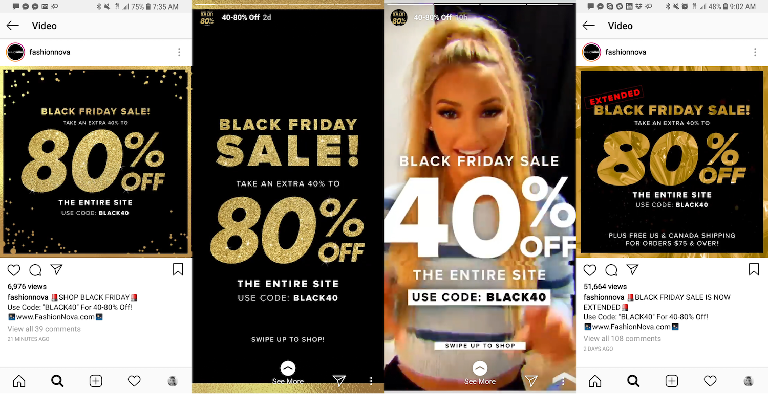 Fashion Nova Black Friday on Instagram