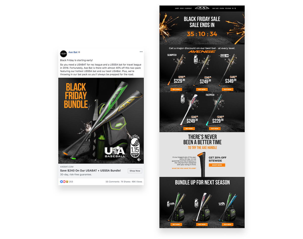 Axe Bat's Black Friday Facebook ad to landing page