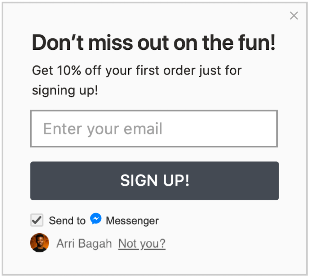 Facebook Messenger marketing checkbox under email subscriber form