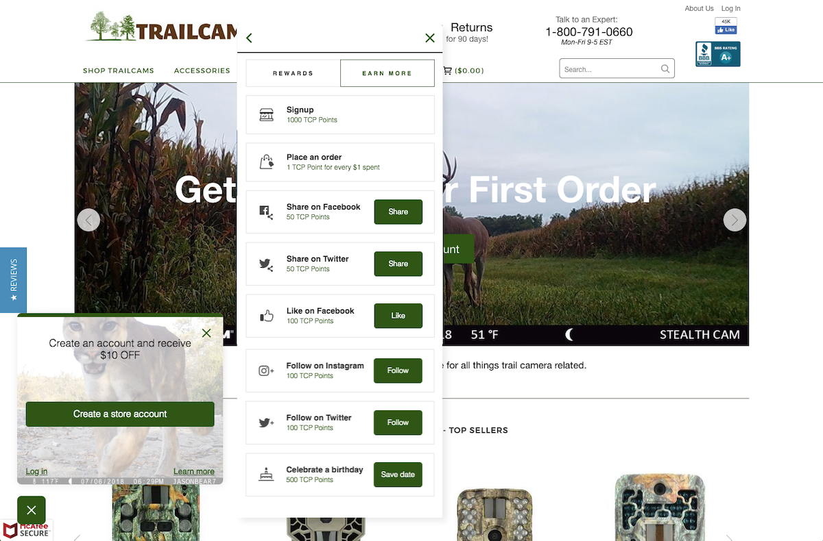 Trail Cam Pro discovered that rewarding customers for different actions unlocked brand loyalty