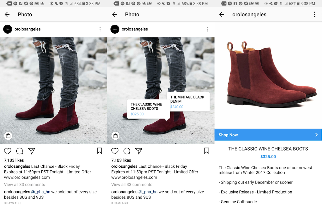 Example of using Shopping on Instagram for ecommerce