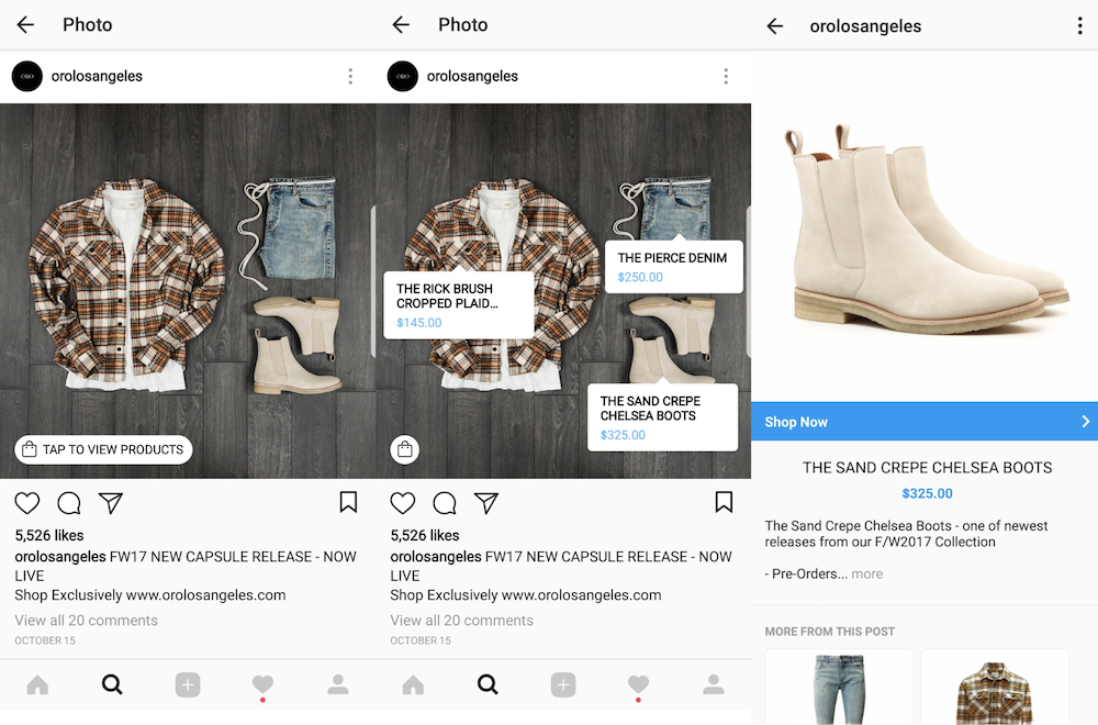 Fashion ecommerce brand ORO LA's Shopping on Instagram