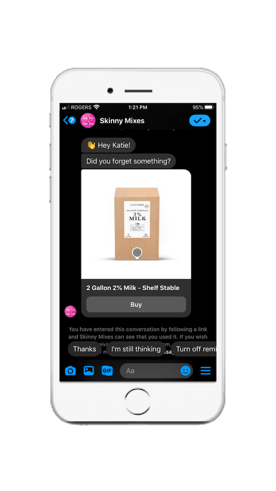 Skinny Mixes Facebook Messenger chatbot example