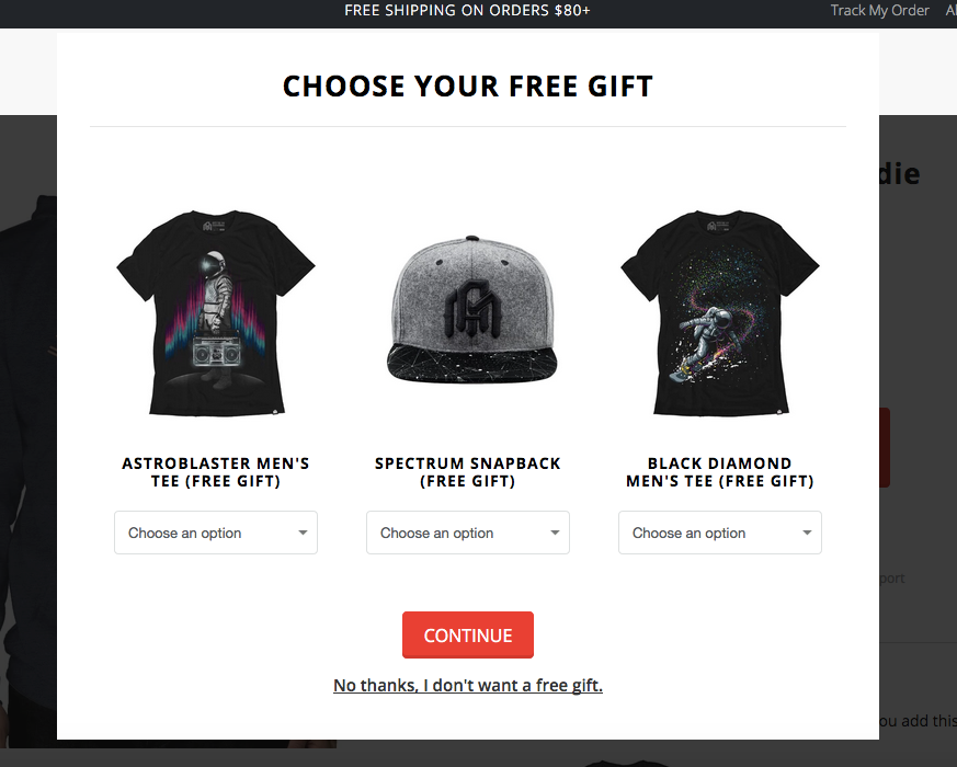 Choose your free gift: astroblaster men's tee, snapback, or black diamond men's tee