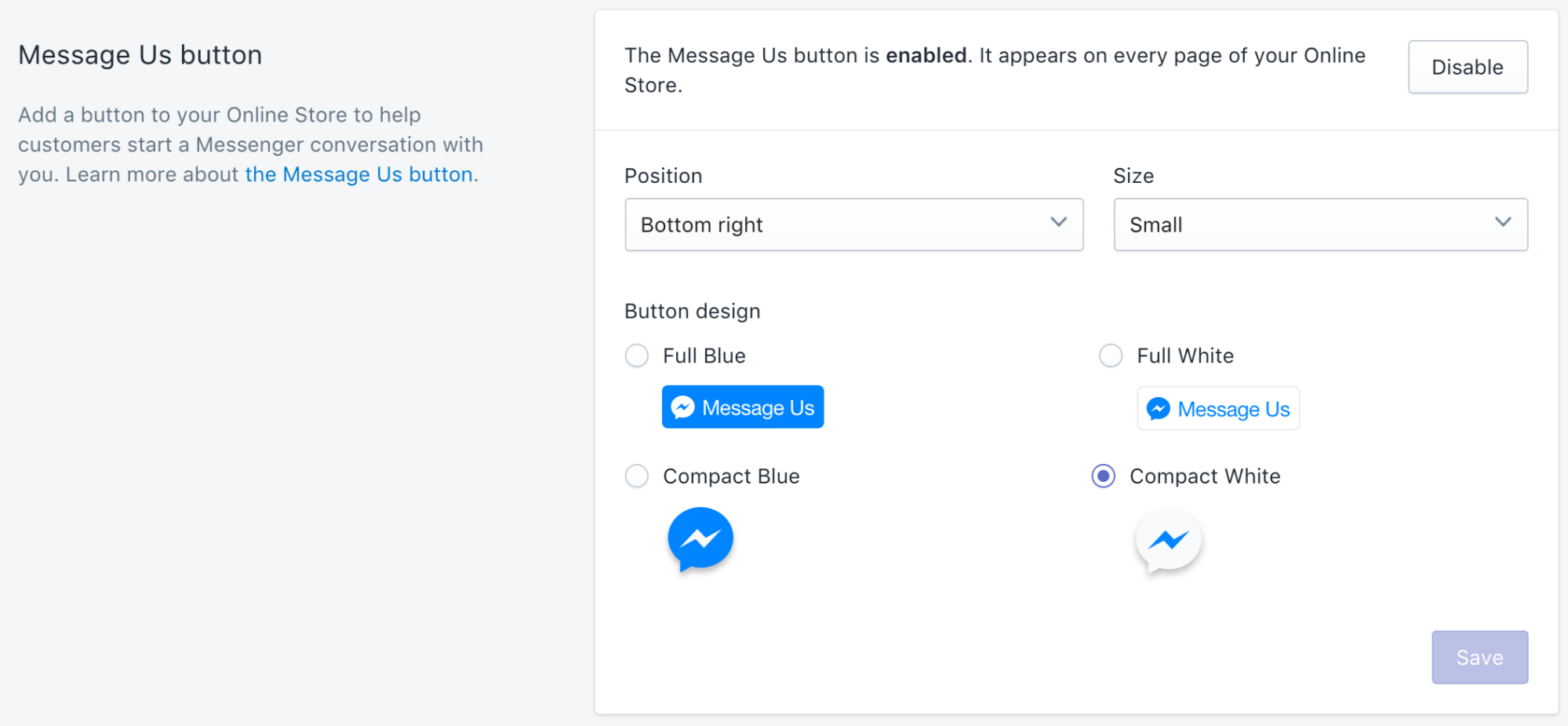 Shopify and Shopify Plus Facebook's native Messenger integration