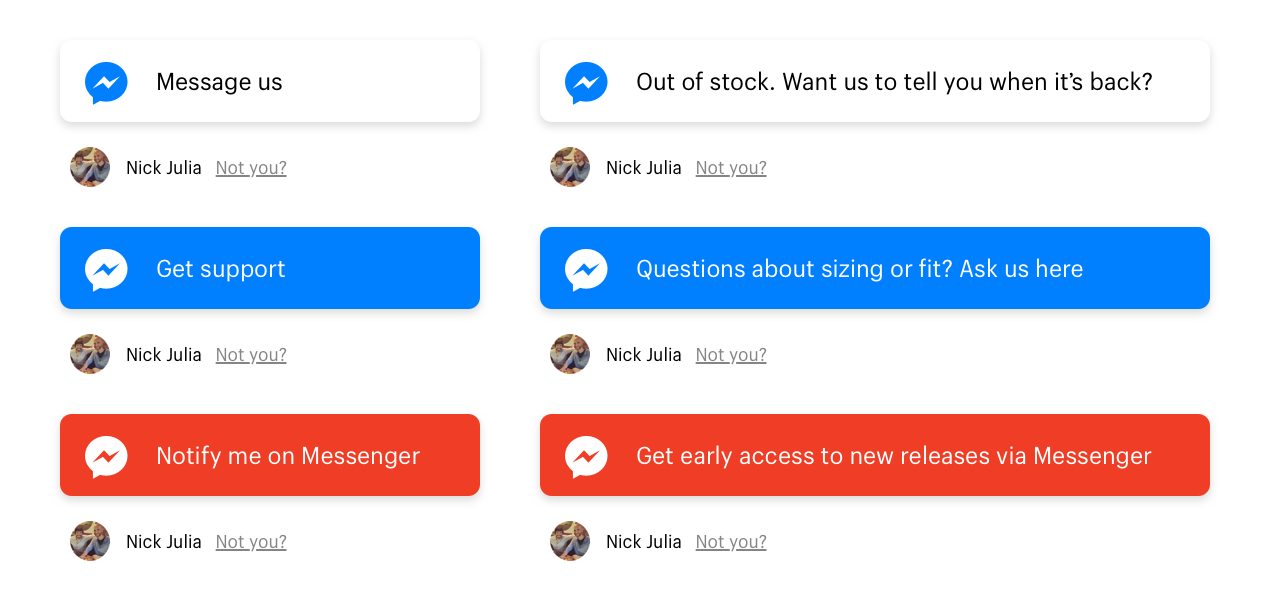 Product-page Messenger bot buttons