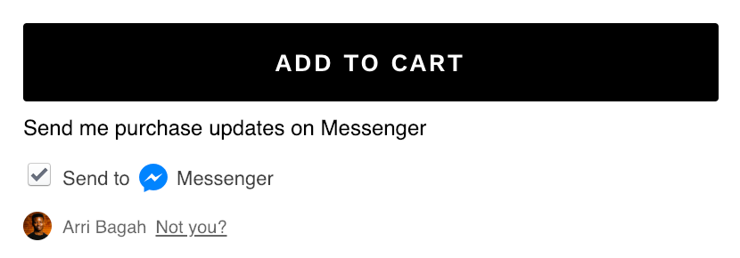 "Facebook Messenger Marketing ""Send to Messenger"" checkbox under Add to Cart button"