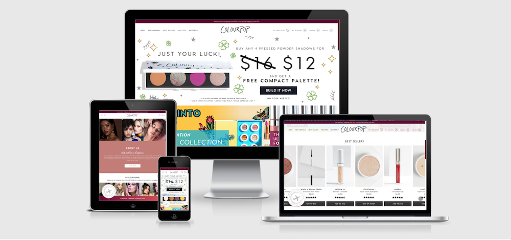 ColourPop excels as a top beauty ecommerce website