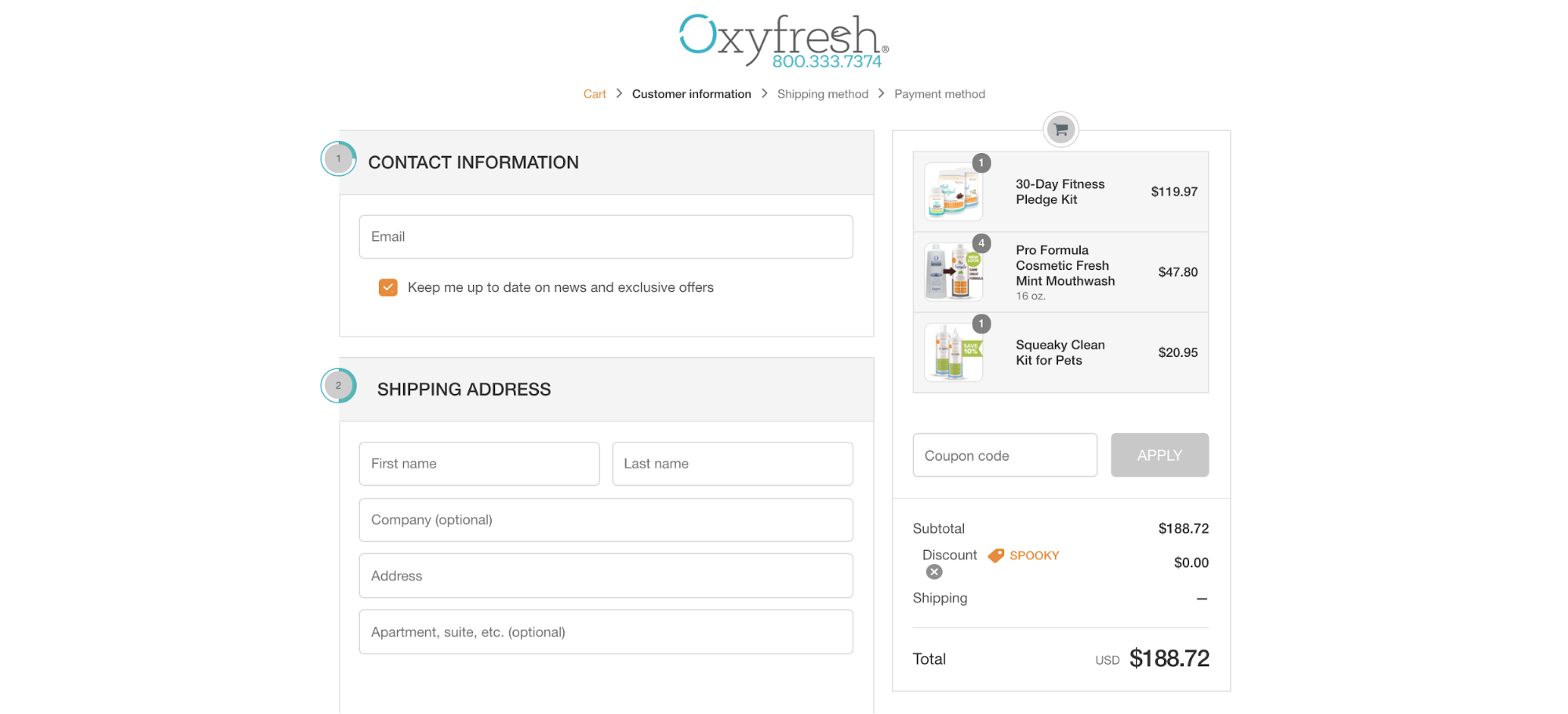 Oxyfresh's free shipping coupon solution