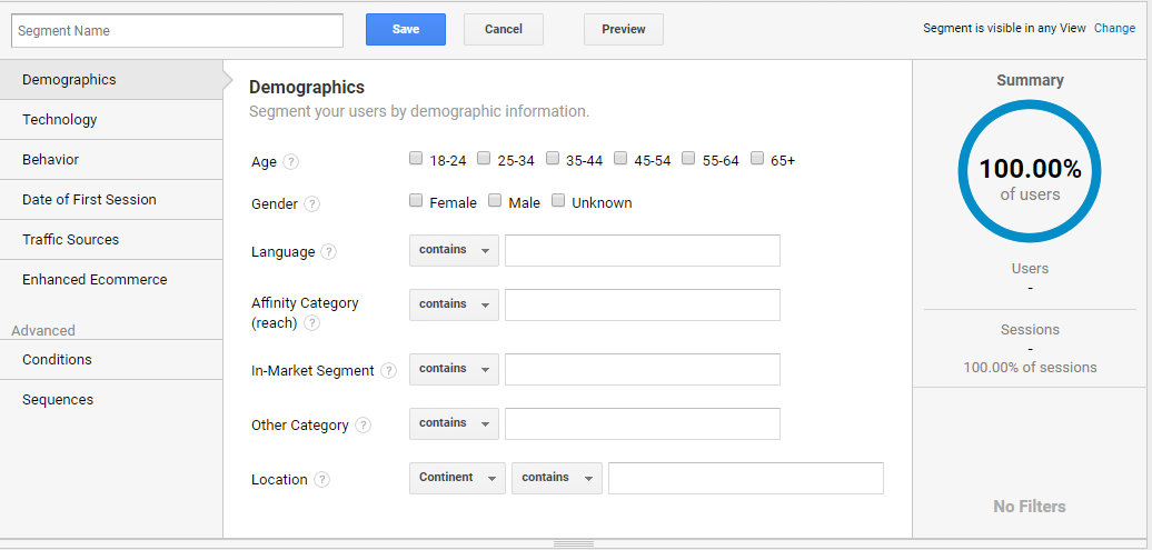 Setting up international segments is straightforward in the Google Analytics interface