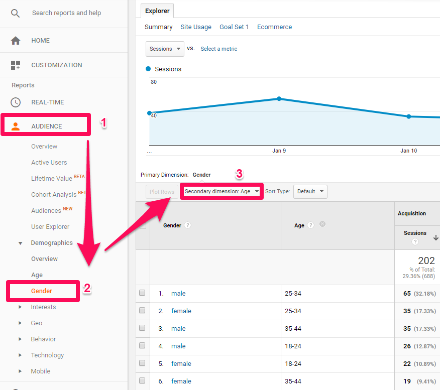 Using Google Analytics Audience (gender and age) to unearth customer psychology in ecommerce