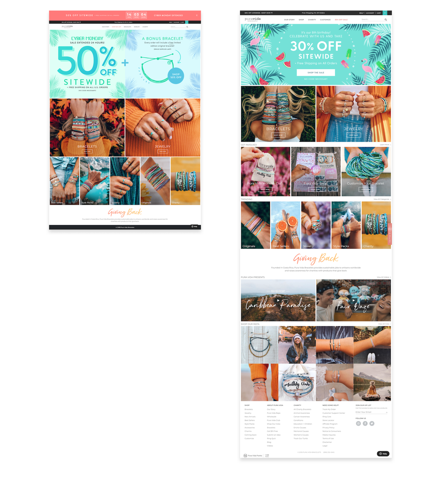 Pura Vida simplified its holiday ecommerce homepage
