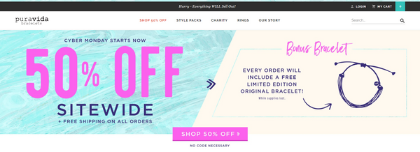 Pura Vida Bracelets offered 50% off sitewide for Black Friday ecommerce