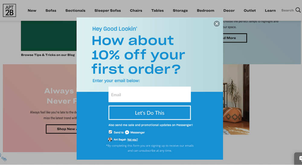 How about 10% off your first order on Apt2B's homepage