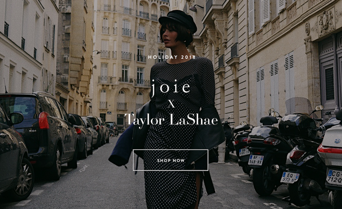 joie x Taylor LaShae landing page for social commerce